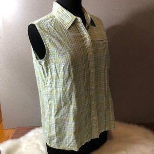 WOOLRICH Green Plaid Sleeveless Button Down Shirt